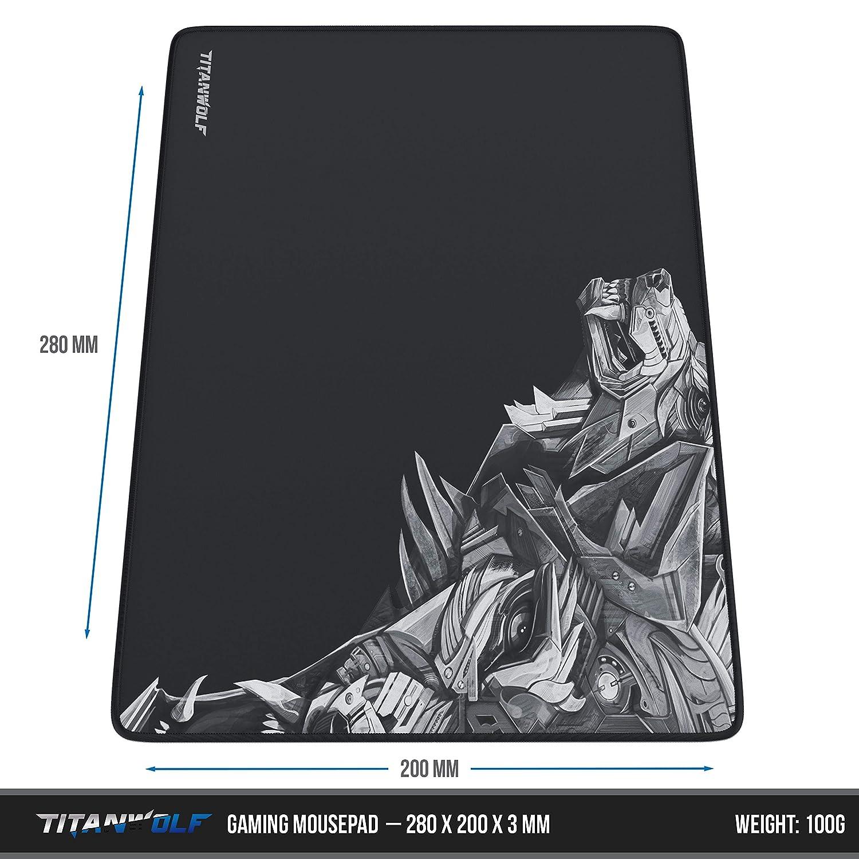 titanwolf 900x400  Titanwolf - Mousepad with sewn edges | 280 x 200 x 3 mm: Amazon.co ...