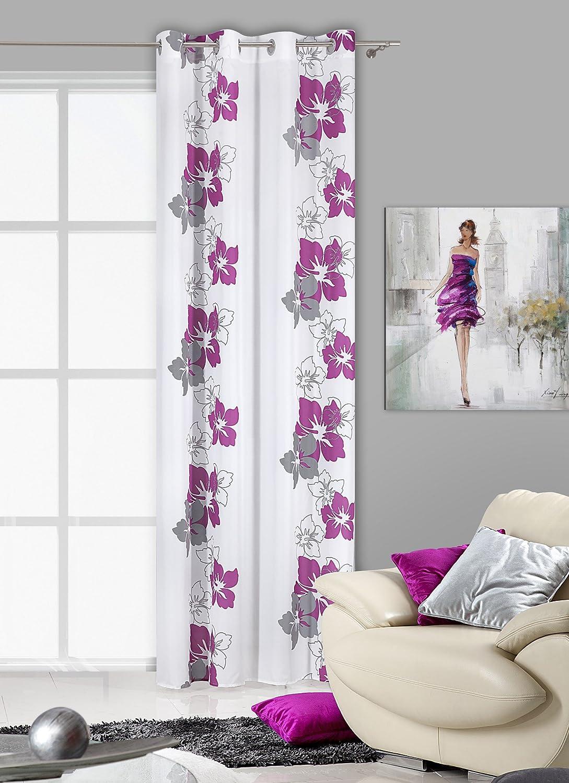Amazon.de: 140x245 cm weiß   violett   grau vorhang vorhänge ...
