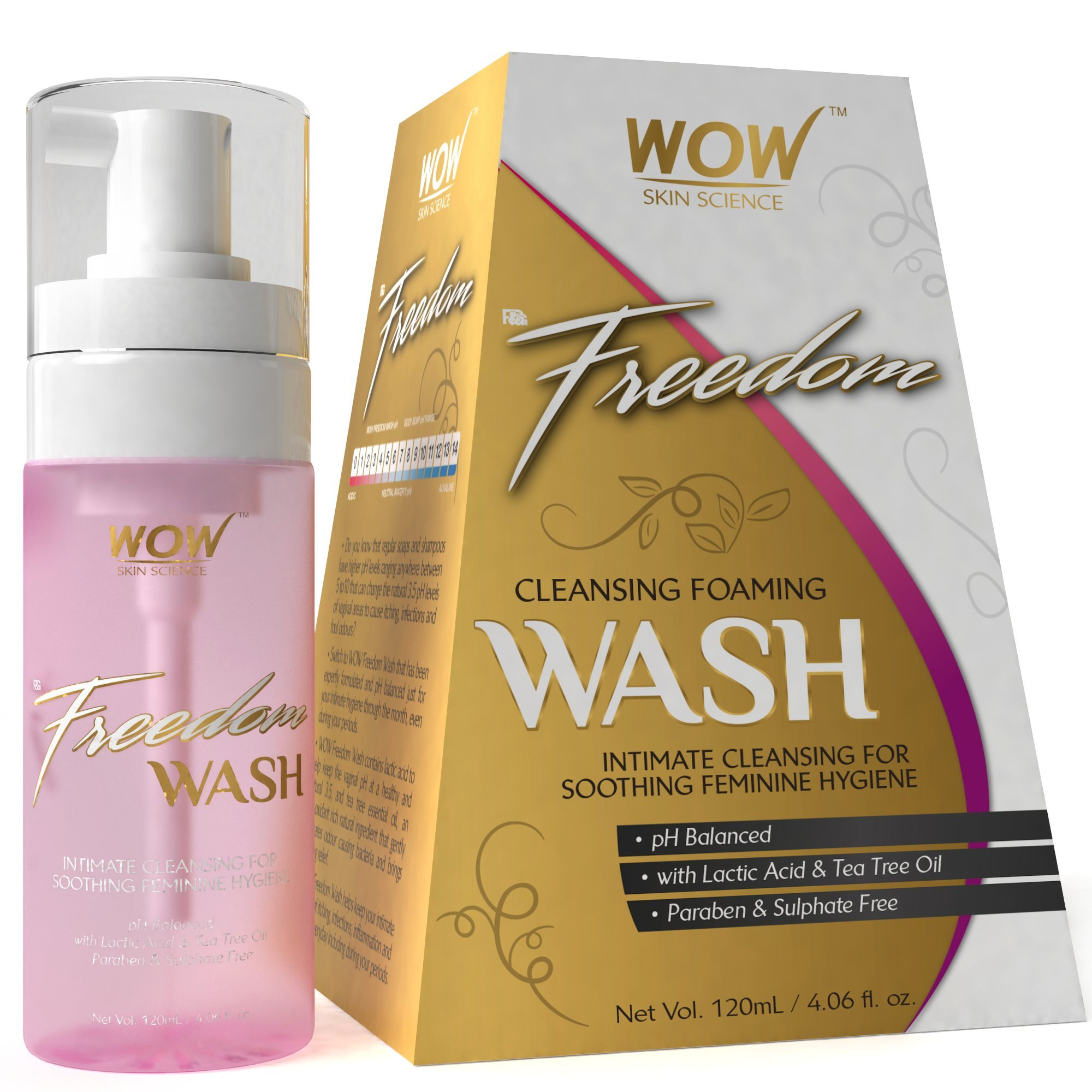 WOW Freedom Cleansing Foam Wash, Lactic Acid and Tea Tree Oil, 120ml product image