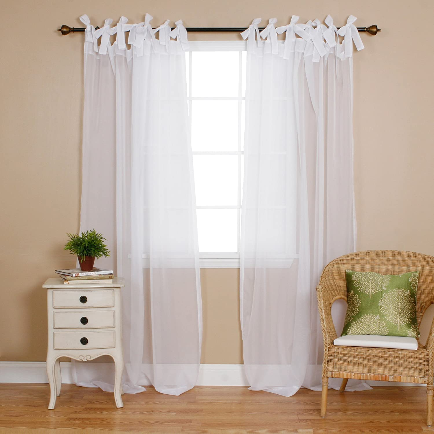 "Best Home Fashion Sheer Voile Curtains - Tie Top - White - 56""W x 84""L"