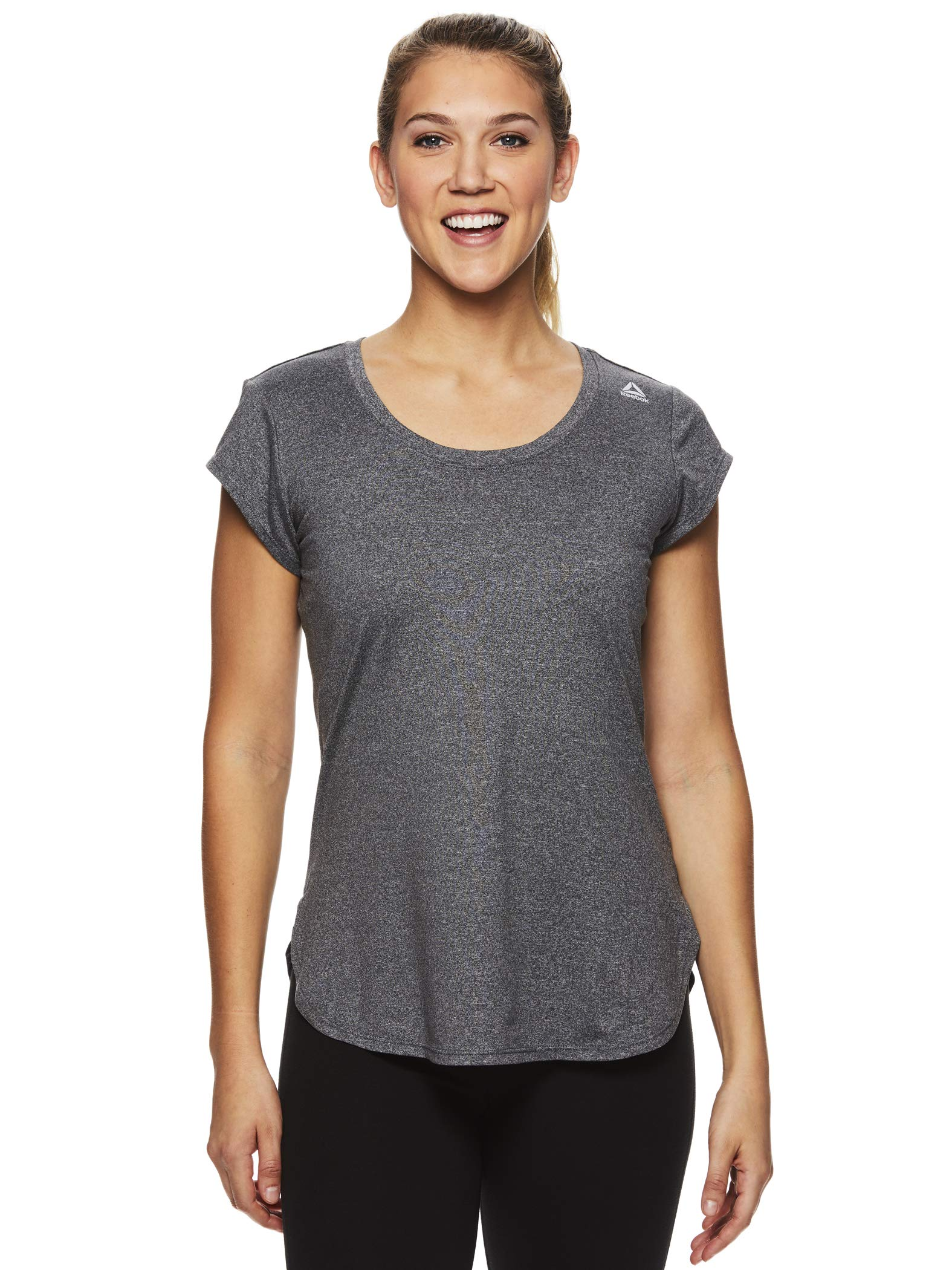 Reebok Women's Legend Performance Short Sleeve T-Shirt with Polyspan Fabric - Charcoal Semi Heather, X-Small by Reebok (Image #4)