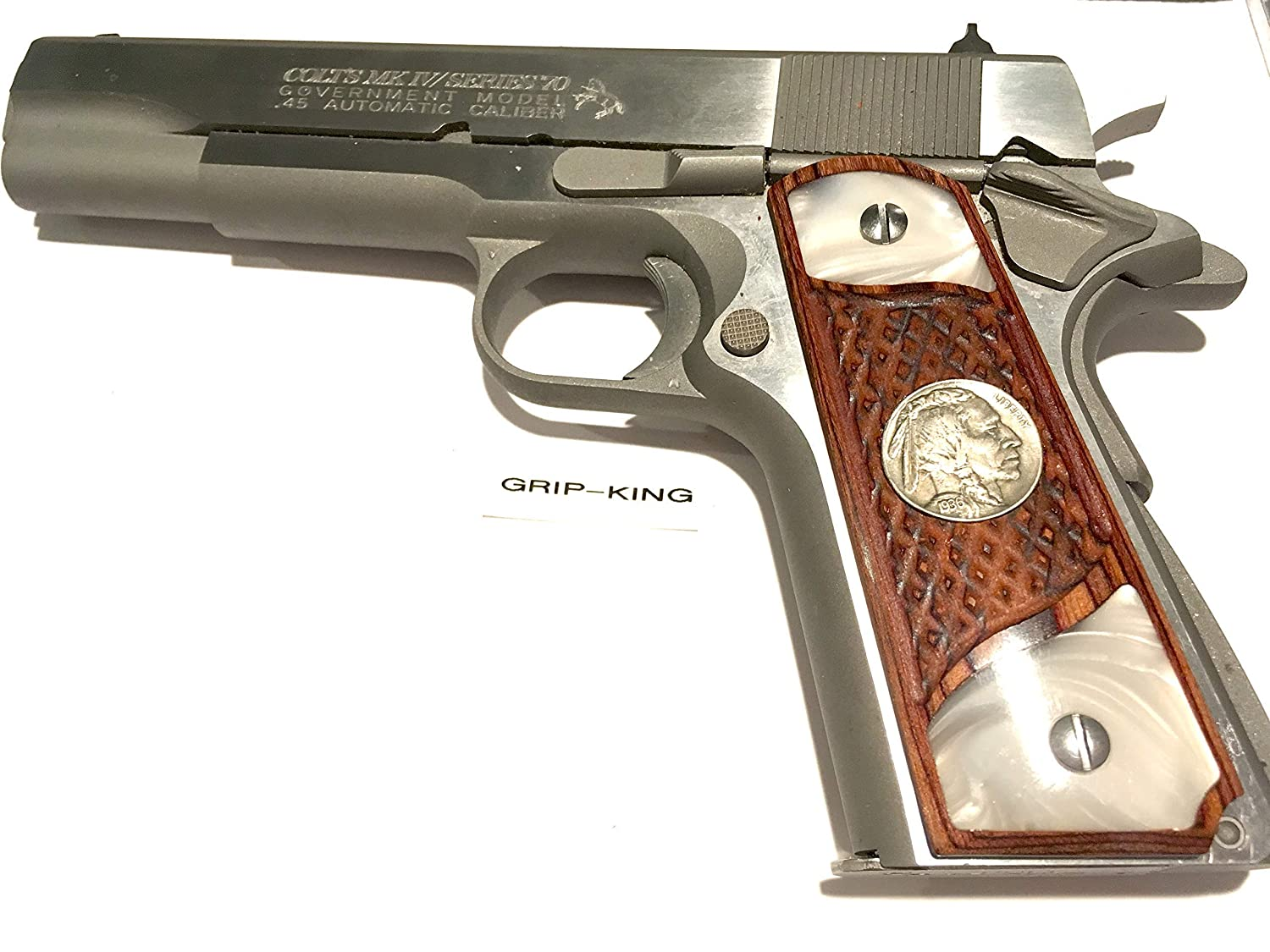1911 GRIPS,SALE $45.73, VINTAGE U.S. MINT 1936 BUFFALO NICKELS IN CHERRY WOOD. FITS COLT.RUGER,WILSON,TAURUS,KIMBER,SIG,PARA,REMINGTON,SPRINGFIELD,ACE,ITHACA,CLONES. MADE IN U.S.A. 81DTuStbxmL