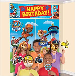 amscan Happy Birthday Paw Patrol Banner, Scene Setter Wall Decorations with 12 Photo Props,Multicolor,15 Pieces