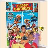 amscan Banderín de la Patrulla Canina de Feliz Cumpleaños, Decoraciones de pared con 12 accesorios para fotos, multicolor, 15