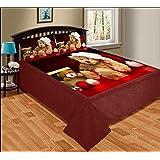 Paramorasi Super Soft Touch Velvet Digital Print King Size Warm Double Bedsheet - Size 90 X 100 Inch-Santa