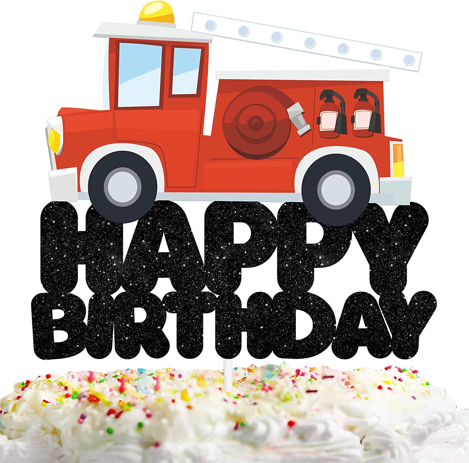 Amazon Com Happy Birthday Cake Topper Decorations With Fire Engine For Rescue Theme Picks For Baby Shower Party Decor Supplies Toys Games