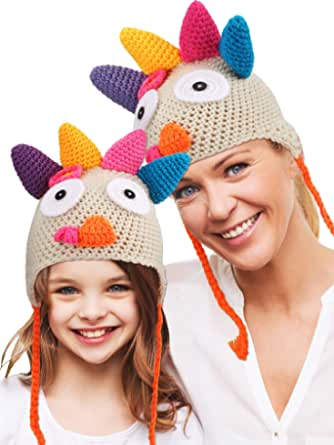 2 Pieces Thanksgiving Hats Turkey Knitted Crochet Hat Beanie Cap with Pigtail Braids for Child