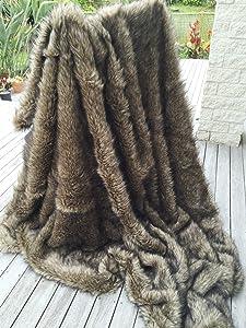 Starose Wolf Faux Fur Throw Blanket Fake Wolf/Coyote Fur Thorw Blanket 99