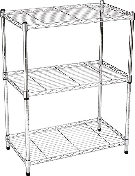 Amazon.com: AmazonBasics estantería cromada de 3 ...