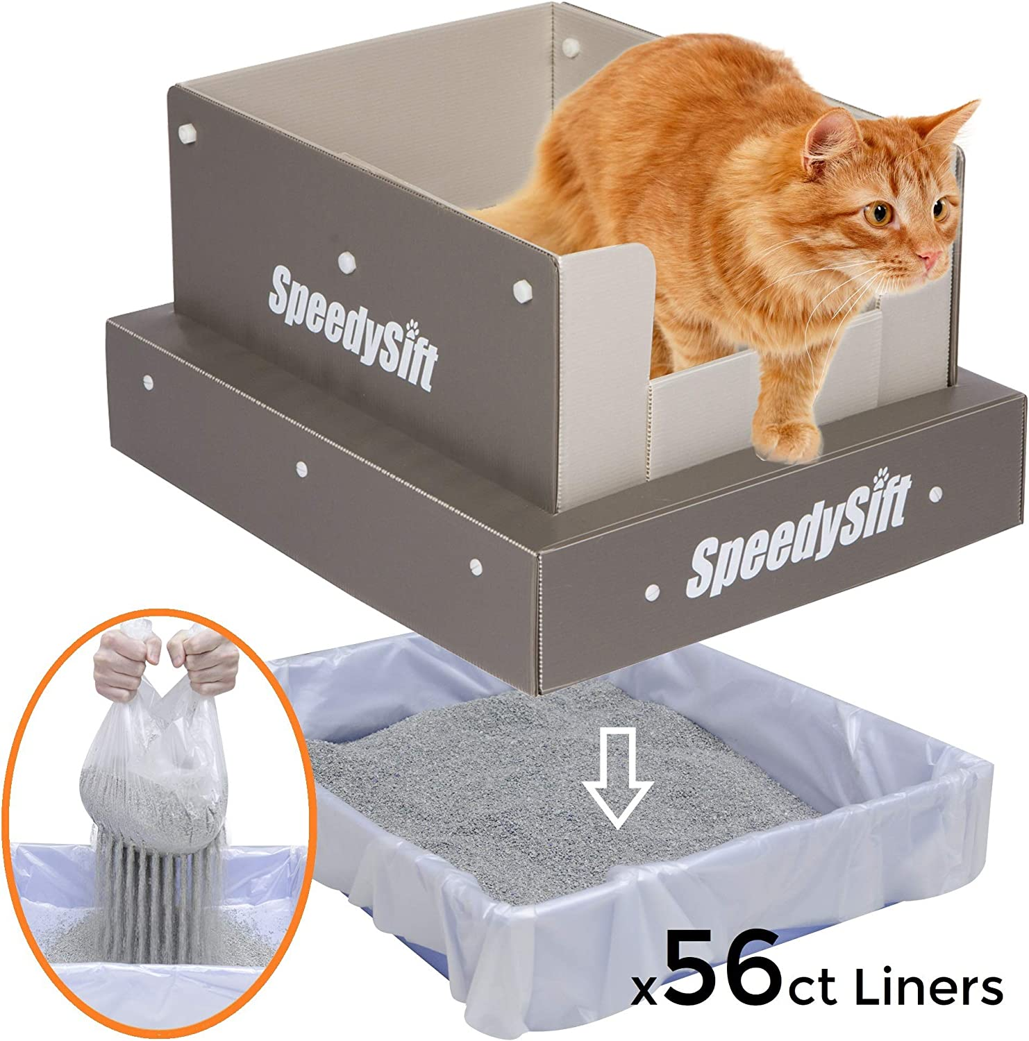 SpeedySift Cat Litter Box with Disposable Sifting Liners, Stain Resistant Plastic High Sides (5 Year Warranty), Large