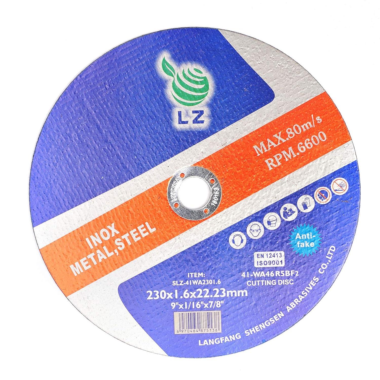 Discos de corte 230 x1.9 x22.23 mm - Juego de 10- Para amoladora angular, para metal, acero inoxidable, acero y metales no ferrosos, por LZnoxidable, acero y metales no ferrosos, por LZ