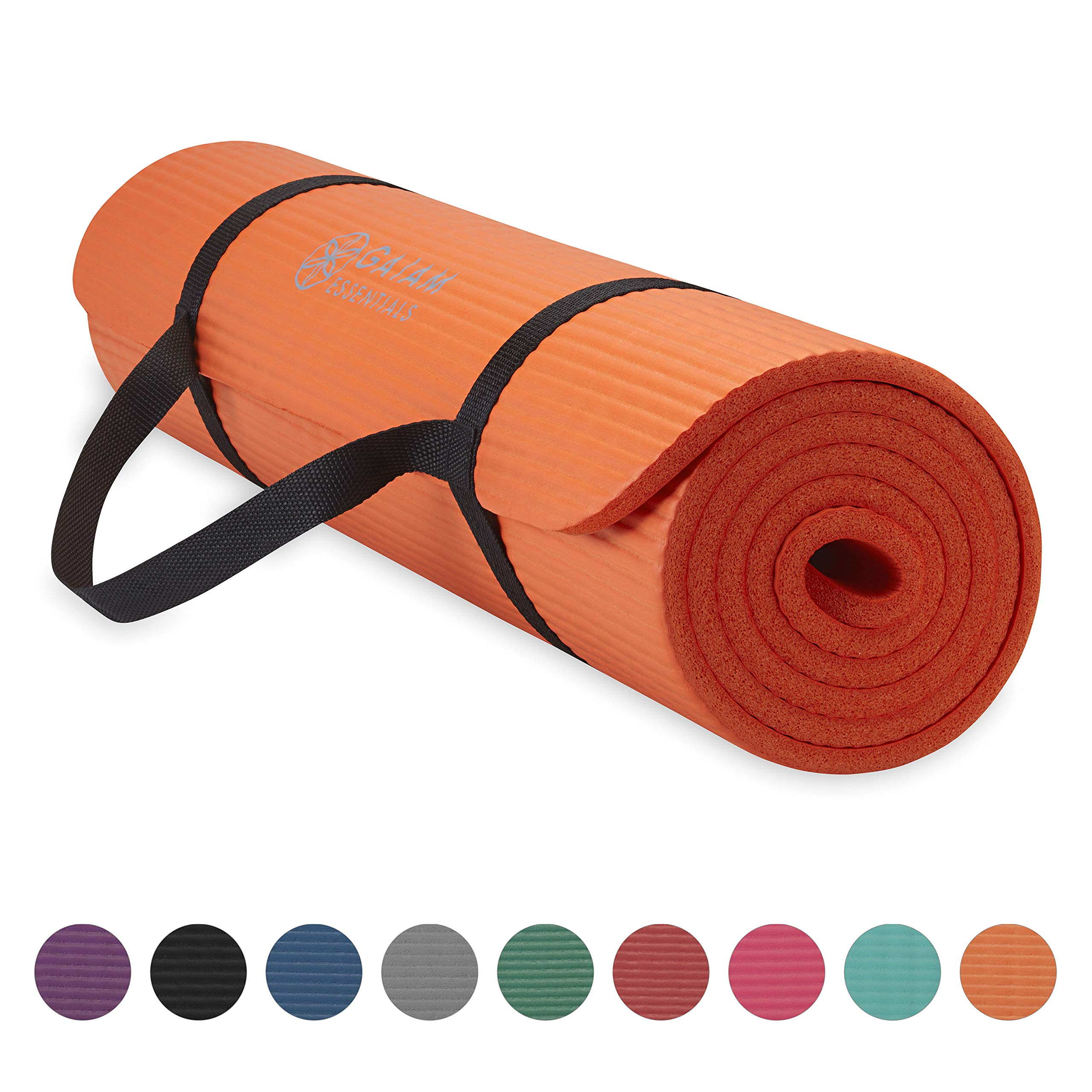 Gaiam Essentials Thick Yoga Mat Fitness & Exercise Mat with Easy-Cinch Yoga Mat Carrier Strap, Orange, 72''L x 24''W x 2/5 Inch Thick