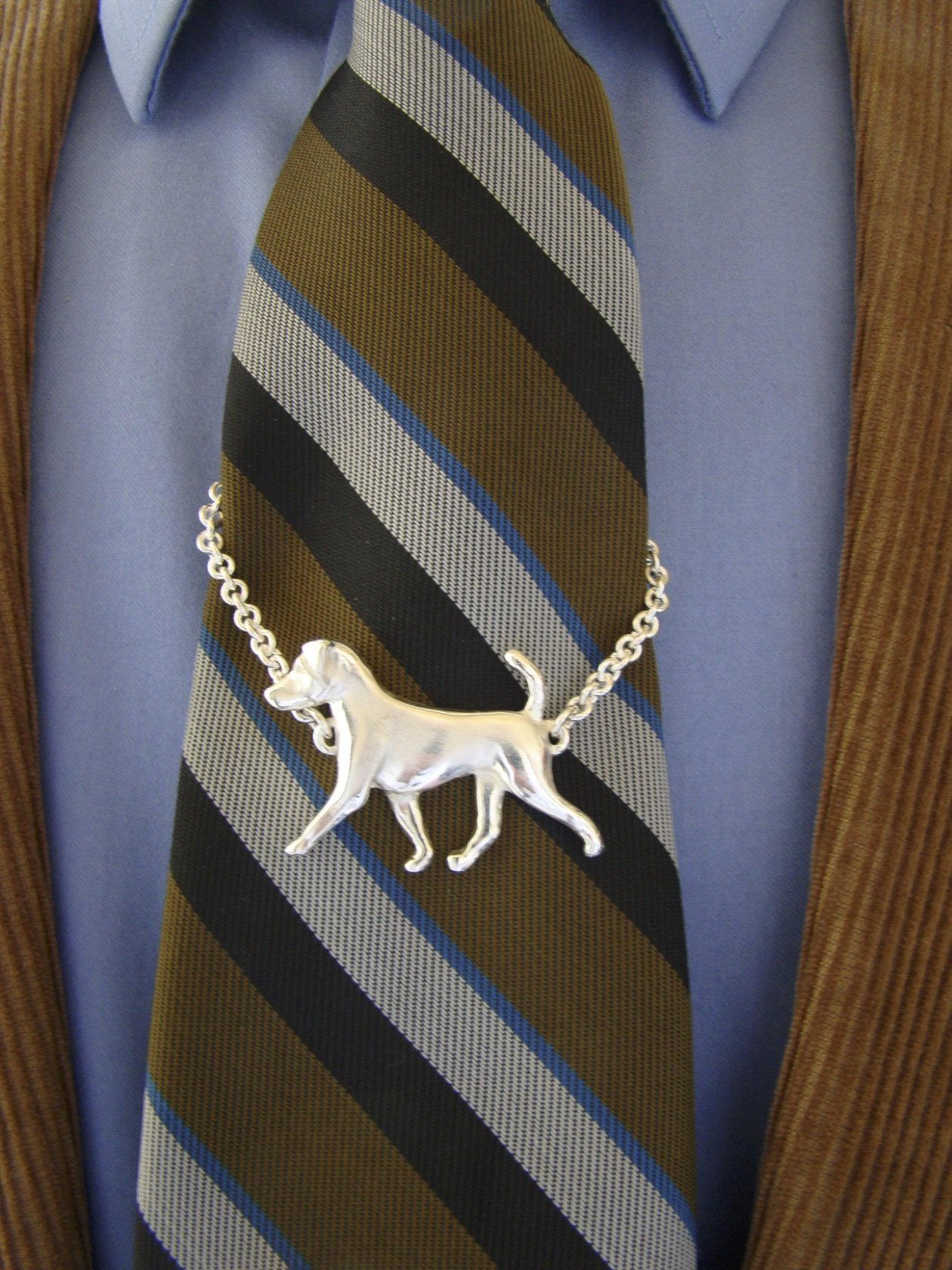 Large Sterling Silver Jack Russell Terrier Moving Study Tie Chain