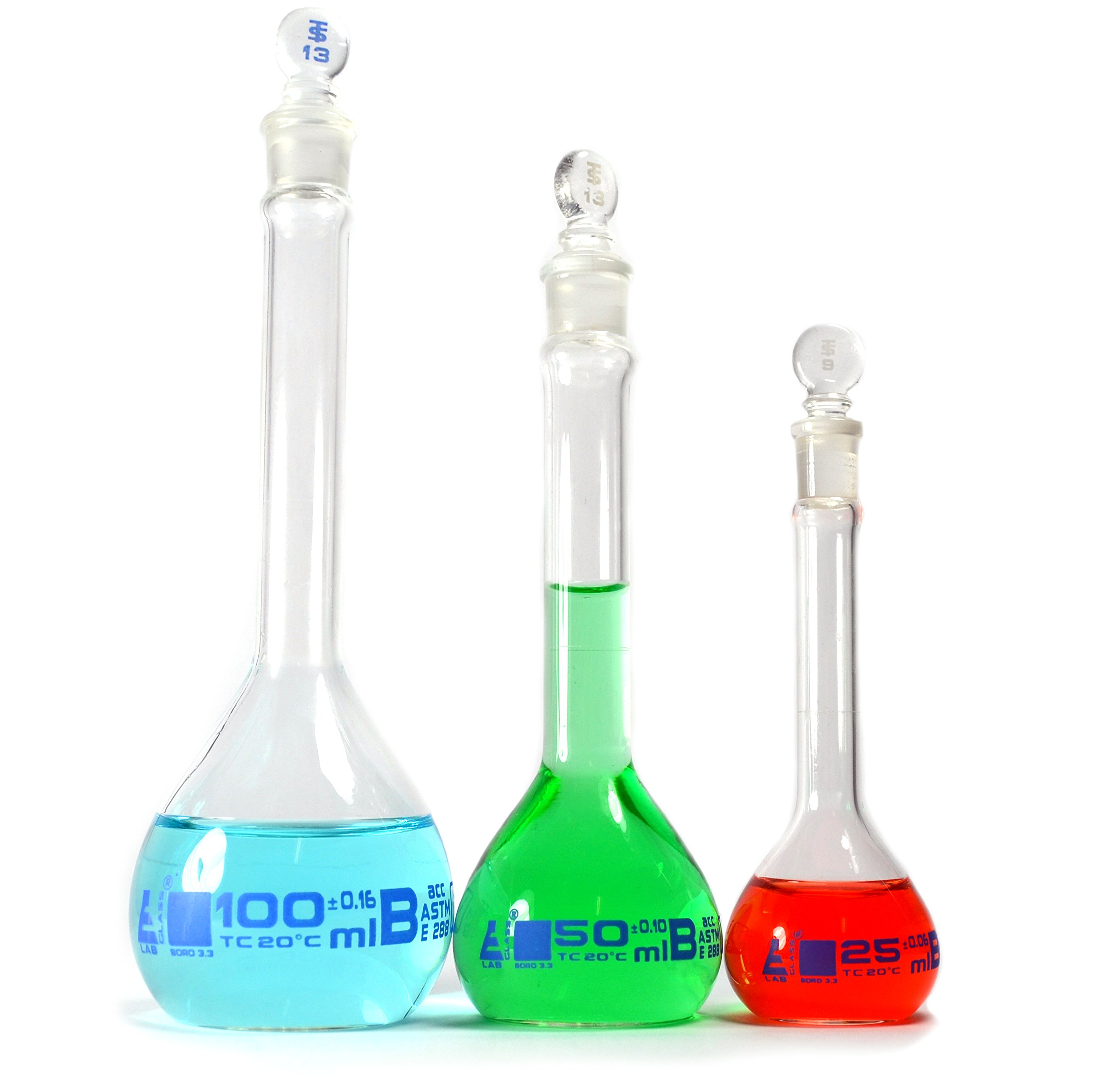 Volumetric Flask Set, 3 Pieces - Class B, ASTM - 25ml, 50ml & 100ml - Glass Stopper - Blue Graduation - Eisco Labs by EISCO