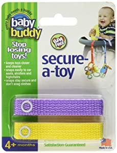 Baby Buddy Secure-A-Toy - Straps Toys, Teether, or Pacifiers to Strollers, Highchairs, Car Seats— Safety Leash With Adjustable Length to Keep Toys Sanitary & Clean, Lilac/Yellow 2 Count