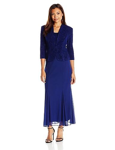 Alex Evenings Women's Petite 3/4 Sleeve Long Jacket Dress