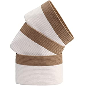 HOKEMP Extra Large Cotton Rope Storage Baskets [3-Pack] - 15 x 10 x 9 inch Fabric Storage Bins Set with Handle Collapsible Organizer for Closet, Toys, Towels, Laundry (White-Brown)