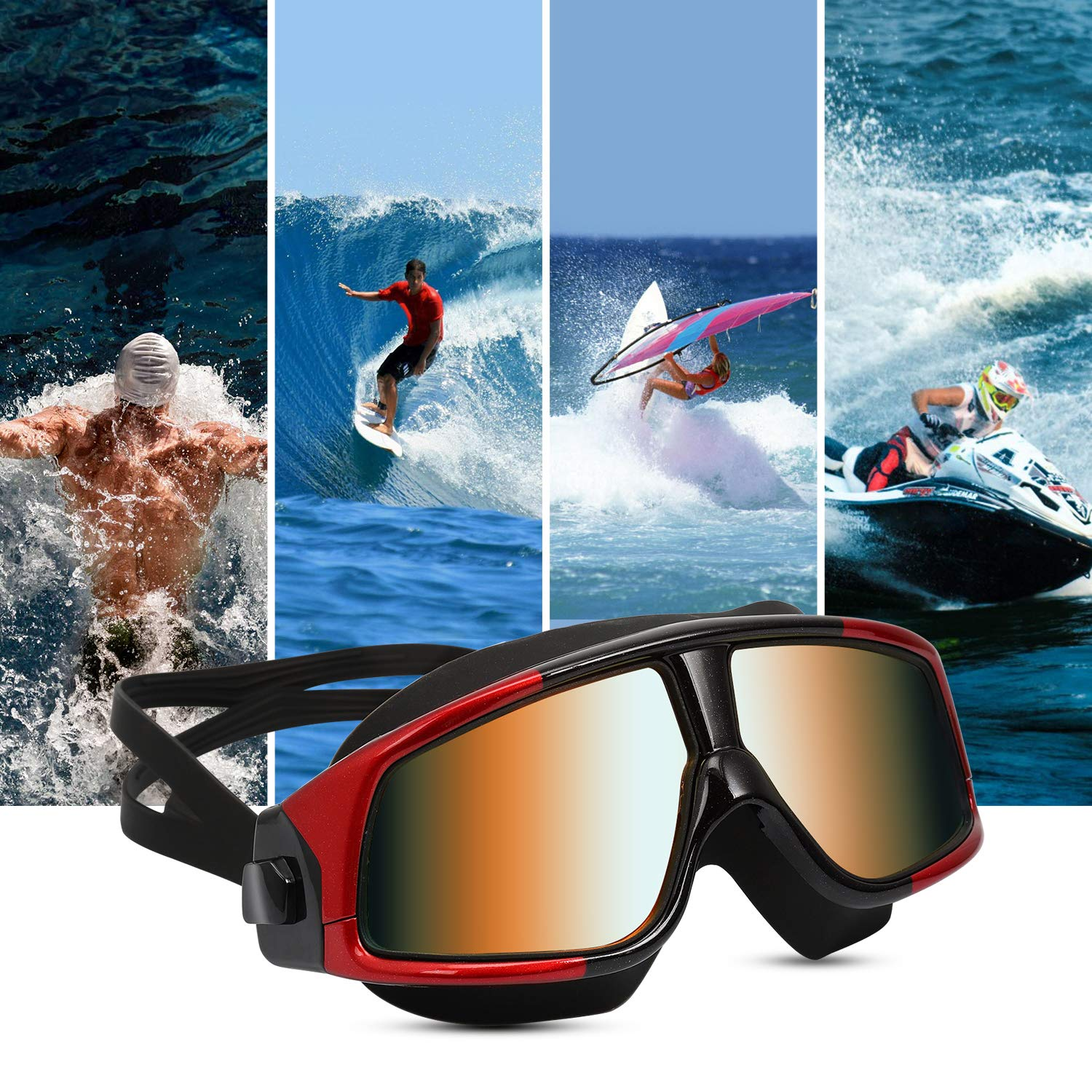 iOutdoor Products Swim Goggles Anti Fog Leakproof Large Frame,Swimming Glass UV Protection with Wide Vision And Soft Silicone Nose Bridge for Adult Youth Women Men (Black&Red)