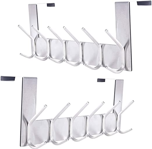 6 Hooks Robes Black Coats Towel Purse Back of Door Hook for Hanging Clothes Stainless Steel Over Door Hook Rack SKOLOO Over The Door Hook