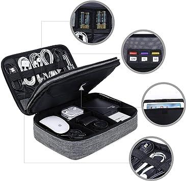 Bolsa organizadora de cables de viaje portátil de doble capa, extra grande, accesorios de electrónica, funda de almacenamiento para iPad Pro, discos duros o Nintendo Switch de 10,5