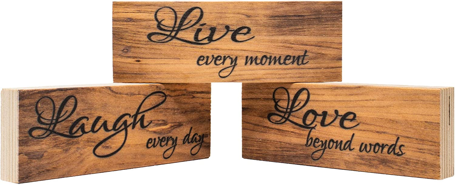 JennyGems Live Laugh Love Blocks | Set of 3 | Farmhouse Country Room Decor | Shelf Sitters Wooden Signs