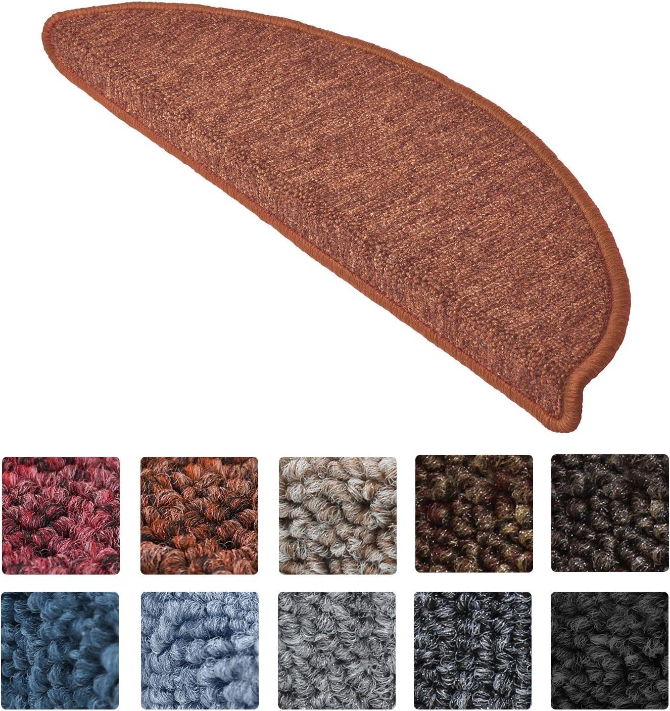 Beautissu Set 15 Alfombras pequeñas semicirculares ProStair Escalera - 55x15 cm - òxido Ribeteado, antidelizante y Adhesiva: Amazon.es: Hogar