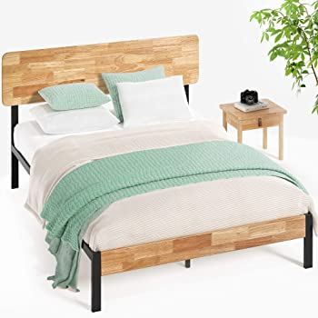 Zinus Olivia Metal and Wood Platform Bed With Wood Slat Support