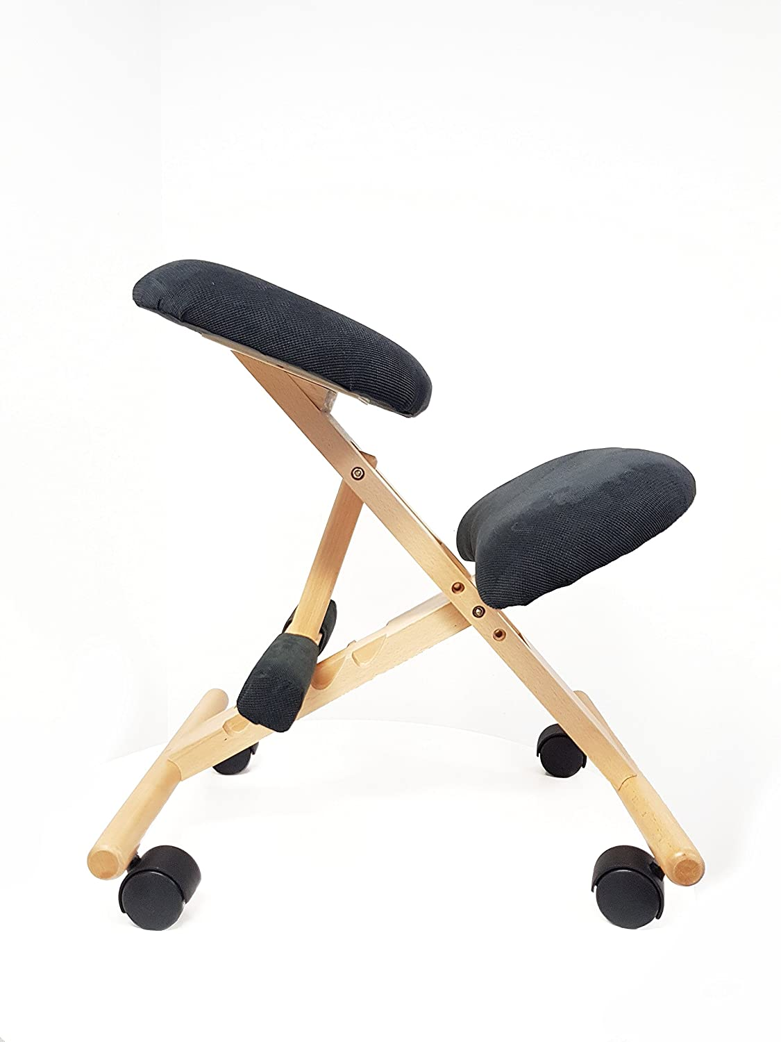 Snug Furniture - Kneeling Chair with footrest - natural wood with black seat