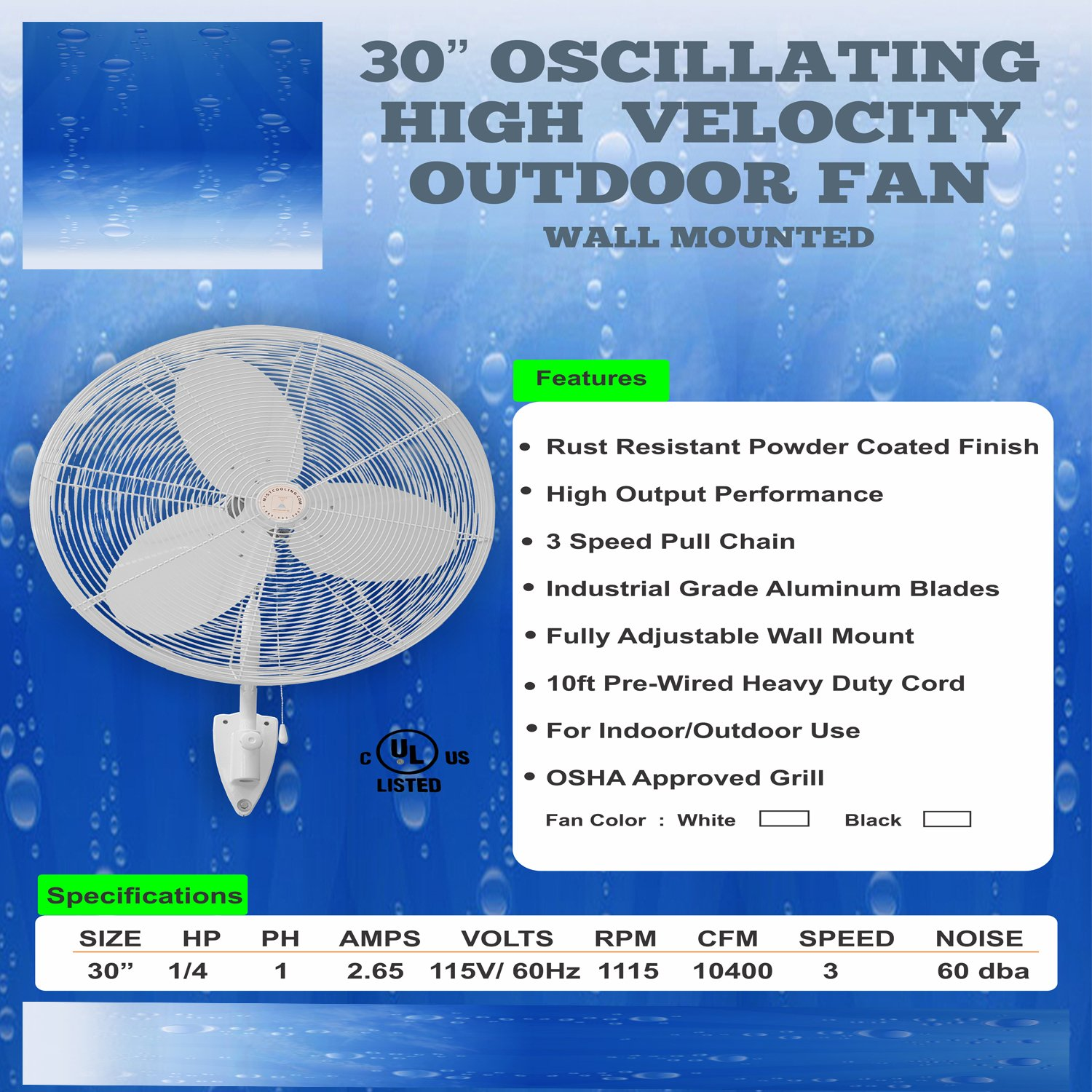 Hydro Breeze Bully Fan - 30'' Fan - Stainless Steel Mist Ring - Outdoor cooling for sporting events , construction sites & industrial locations (1500 PSI Pump SS ring 10 Nozzles)