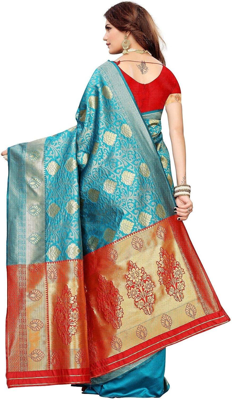 Sari indien Banarasi en jacquard pour femme avec chemisier non cousu