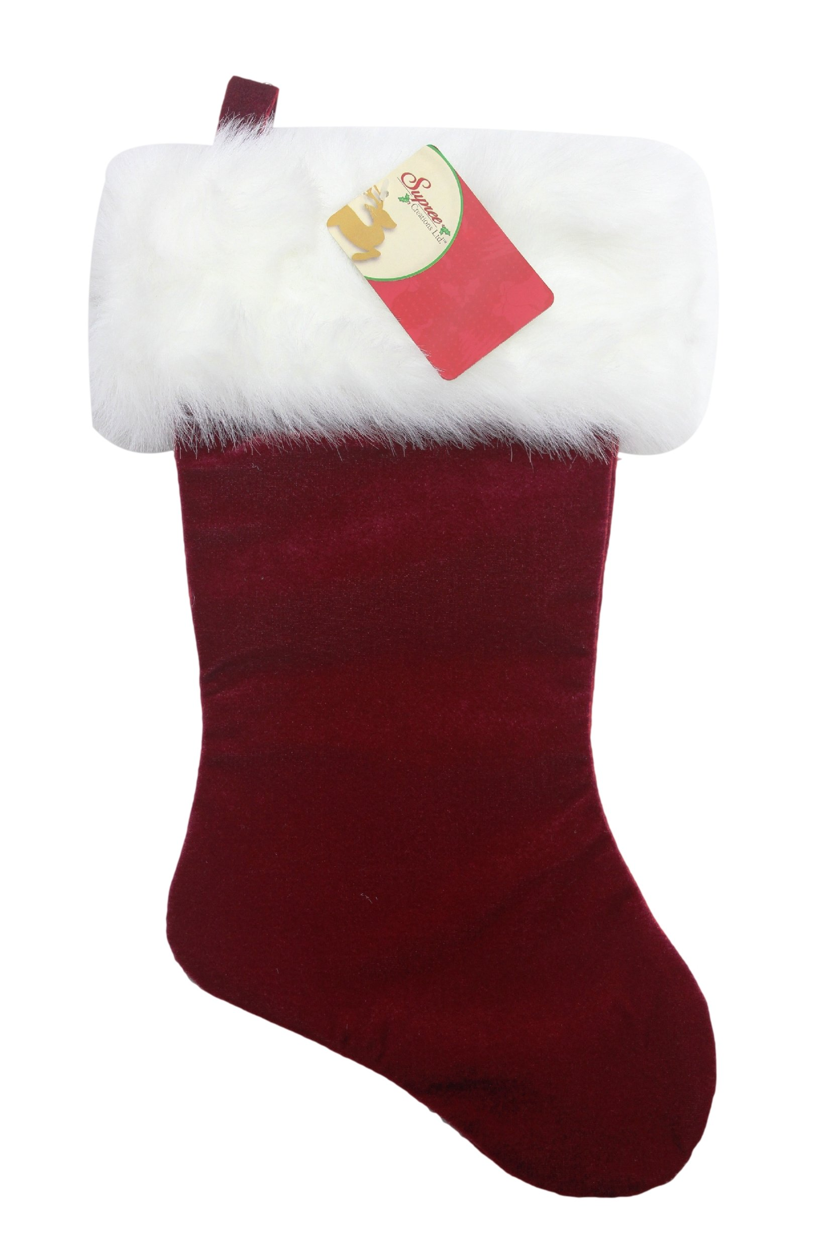 Supree Creation 19'' Christmas Stocking Red Velvet Plush White Fur Trim Holiday Lot of (24) Discount Wholesale