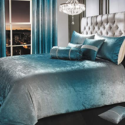 IHIdirect Crushed Velvet Ombre Teal Blue Silver Bedroom Co ...