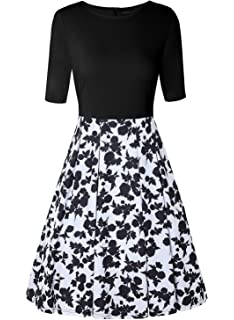 MISSJOY Womens Vintage Patchwork Half Sleeve Slim Fit Flare Floral Swing Dress Pockets