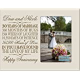 "Personalized 30th Year Wedding Anniversary Picture Frame Gift for Couple 30th Anniversary Gifts for Her 30th Wedding Anniversary Gifts for Him Photo Frame Holds 1 4x6 Photo 8"" H X 10"" W (Ivory)"