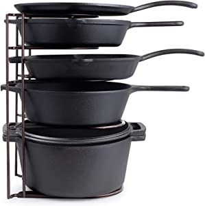 Heavy Duty Pan Organizer, Extra Large 5 Tier Rack - Holds a Dutch Oven - Durable Steel Construction - Space Saving Kitchen Storage - No Assembly Required - Bronze 15-inch