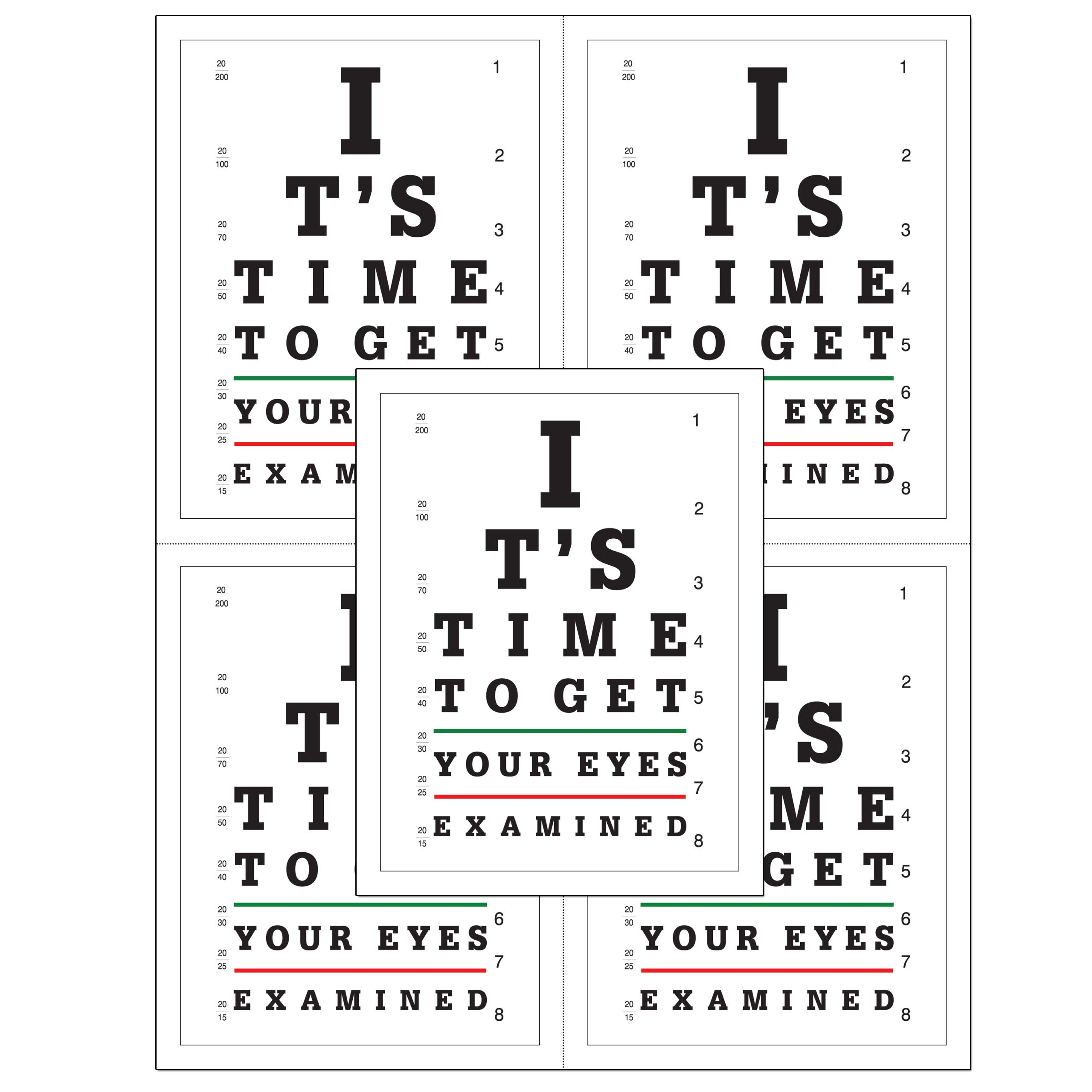 Laser Reminder Postcards, Optometric Appointment Reminder Postcards. 4 Cards Perforated for Tear-off at 4.25'' x 5.5'' on an 8.5'' x 11'' Sheet of 8 Pt Card Stock. (500)