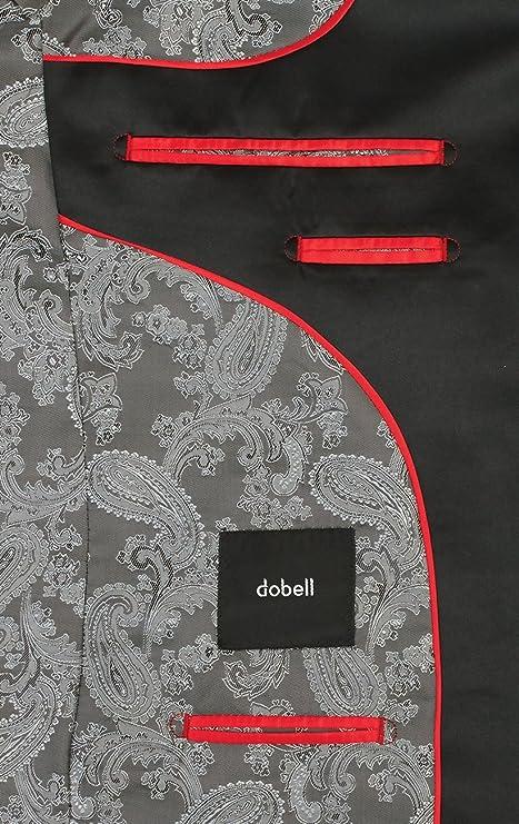 Dobell Antrazith Slim-Fit Smoking Jackett mit Kontrast Schalkragen