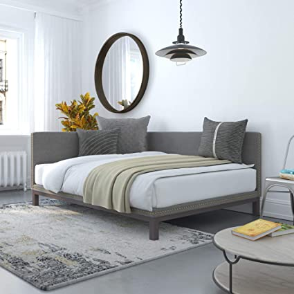 best website 3b7c5 767d0 DHP Dale Upholstered Daybed/Sofa Bed Frame, Full Size, Grey Linen