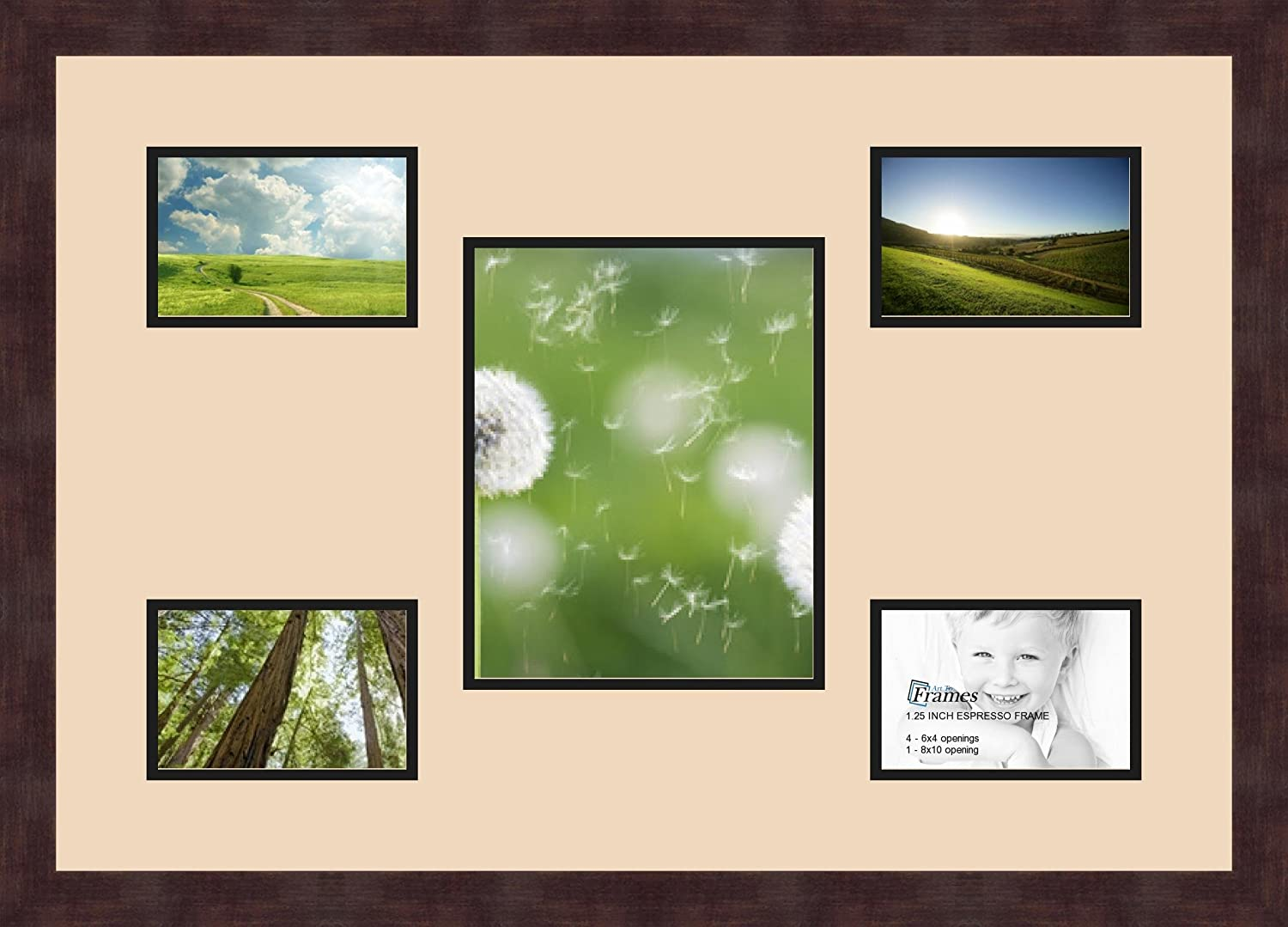 Art to Frames Double-Multimat-571-783//89-FRBW26061 Collage Frame Photo Mat Double Mat with 4-4x6 and 1-8x10 Openings and Espresso Frame