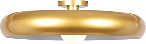 Access Lighting 23881LEDDLP-GLD WHT Bistro Flush Mount, 24 , Gold and White Finish