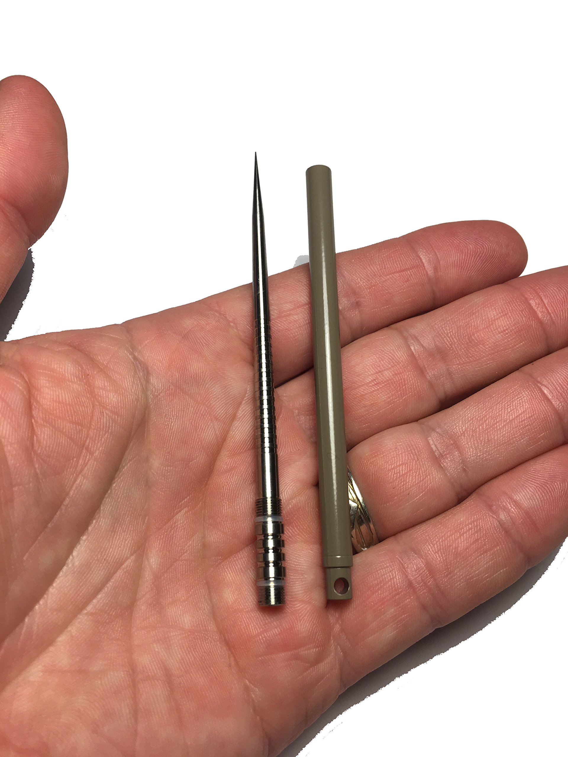 The Tan Solid Titanium 4'' EDC Ice Pick with protective case handle keychain - Empire Tactical USA