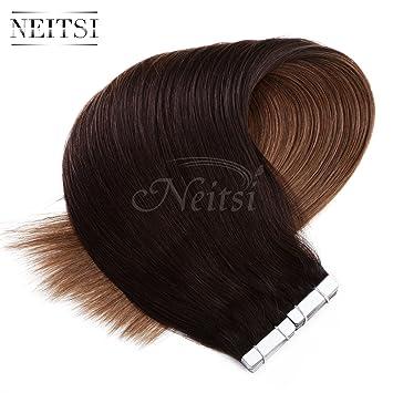 Amazon neitsi 20 100g tape in premium remy human hair neitsi 20quot 100g tape in premium remy human hair extensions straight 40pcslot pmusecretfo Choice Image