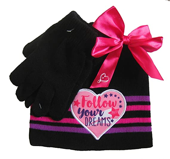 ed0eed1342f Amazon.com  JoJo Siwa Bow Girls Kids Winter Hat Beanie Mittens Gloves 2 Piece  SET  Toys   Games