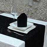 Chemin de table luxe Noir - Anti taches résistant - Lot de 2 unités - Réf. Lyon