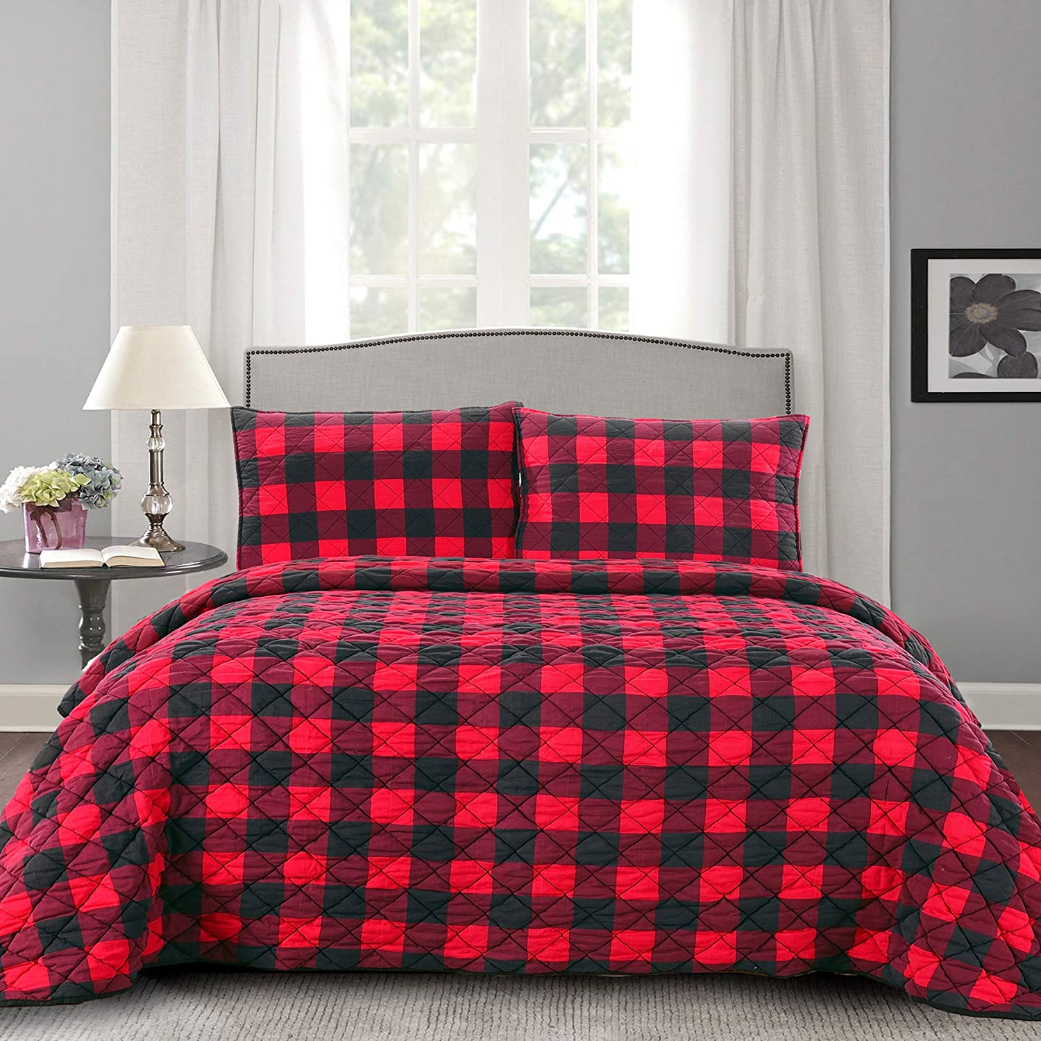 Sweet Home Collection Quilts Queen Size 3 Piece Set Vintage Pre Wash Buffalo Check Oversized Reversible Pattern with Pillow Shams, Burgundy/Black