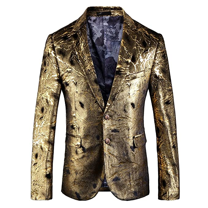 Mens High-end Floral Printed Modern Slim Fit Casual Jacket Blazer at Amazon Mens Clothing store:
