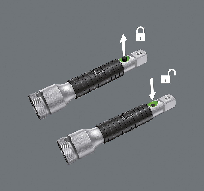 Wera 05003530001 8796 SA Rallonge Zyklop /« flexible-lock /» avec bague de rotation rapide 1//4 pouce x 75.0 mm courte Argent//noir 1//4