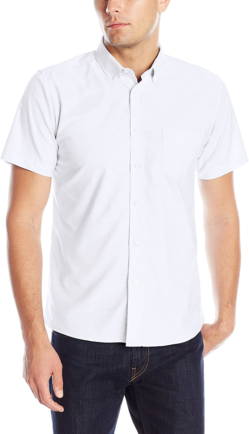 IZOD Uniform Young Men's Short Sleeve Button-down Oxford Shirt at  Men's Clothing store