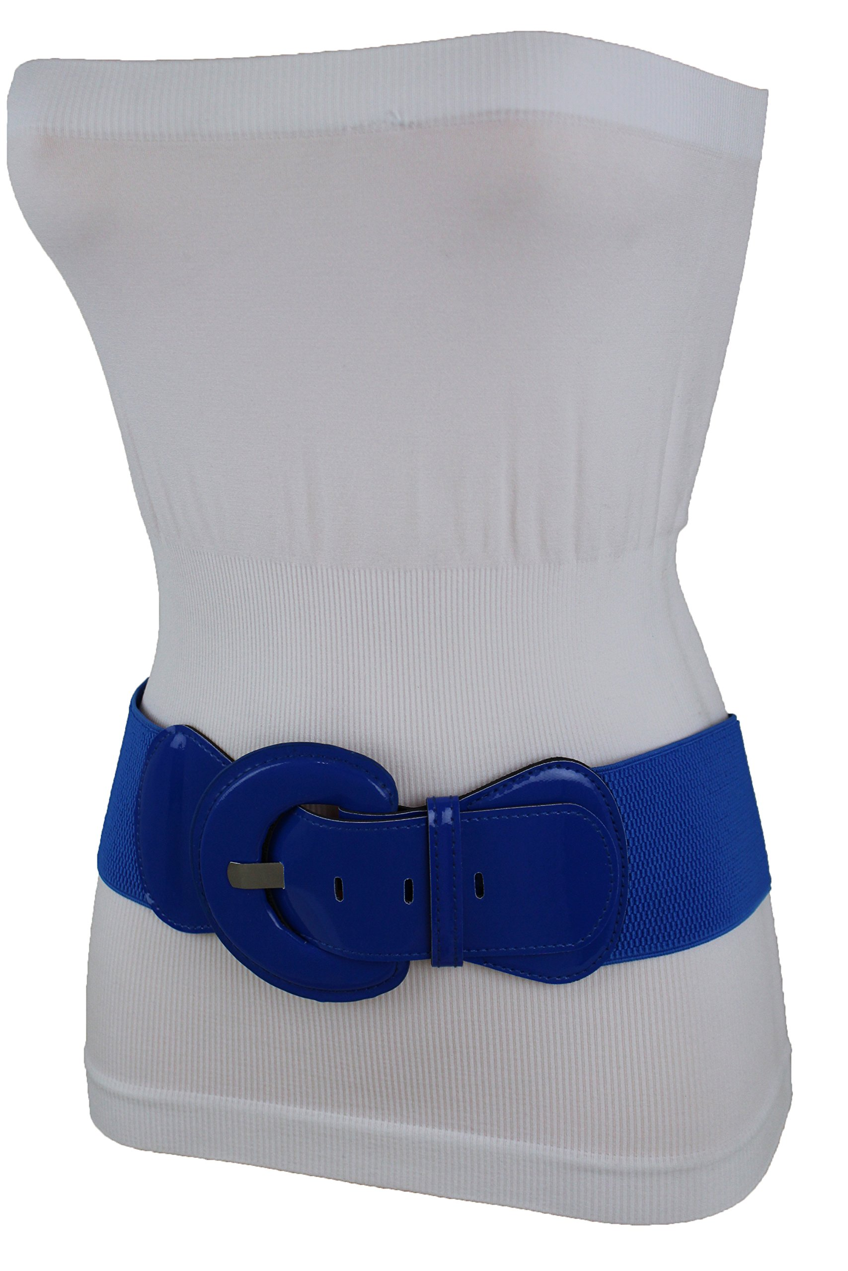 TFJ Women Stretch Wide Belt High Waist Hip Big Round Buckle Plus M L XL Royal Blue