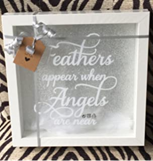 Feathers Appear When Angels Are Near Sparkle Crystal Frame Word